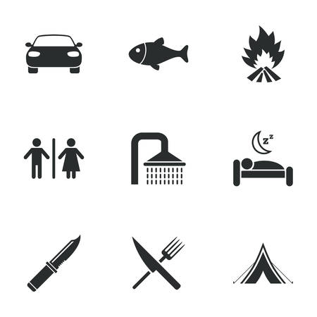 sleeping car: Hiking travel icons. Camping, shower and wc toilet signs. Tourist tent, fork and knife symbols. Flat icons on white. Vector Illustration