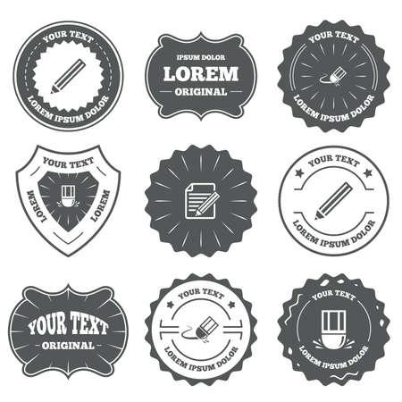eraser mark: Vintage emblems, labels. Pencil icon. Edit document file. Eraser sign. Correct drawing symbol. Design elements. Vector