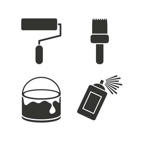 paint can: Painting roller, brush icons. Spray can and Bucket of paint signs. Wall repair tool and painting symbol. Flat icons on white. Vector
