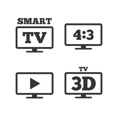 aspect: Smart TV mode icon. Aspect ratio 4:3 widescreen symbol. 3D Television sign. Flat icons on white. Vector Illustration