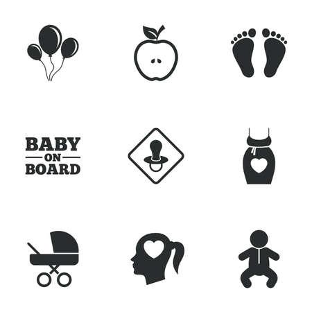 bebe a bordo: Iconos del embarazo, la maternidad y el cuidado del bebé. Balón de aire, carro de bebé y los signos chupete. Huella, manzana y símbolos nacidos. Iconos planos en blanco. Vector