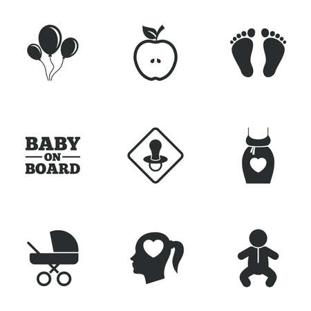 baby foot: Pregnancy, maternity and baby care icons. Air balloon, baby carriage and pacifier signs. Footprint, apple and newborn symbols. Flat icons on white. Vector