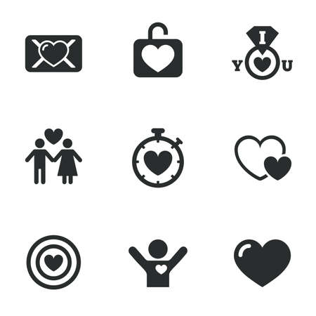 oath: Love, valentine day icons. Target with heart, oath letter and locker symbols. Couple lovers, boyfriend signs. Flat icons on white. Vector Illustration