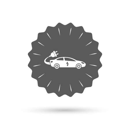 electric vehicle: Vintage emblem medal. Electric car sign icon. Sedan saloon symbol. Electric vehicle transport. Classic flat icon. Vector Illustration