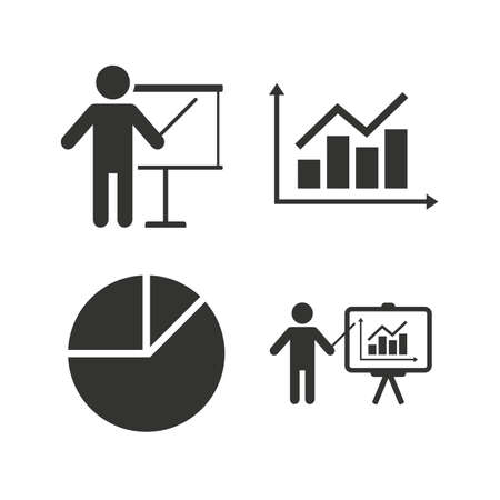 pie chart icon: Diagram graph Pie chart icon. Presentation billboard symbol. Supply and demand. Man standing with pointer. Flat icons on white. Vector Illustration
