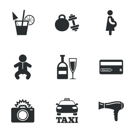 sport woman: Hotel, apartment service icons. Fitness gym. Alcohol cocktail, taxi and hairdryer symbols. Flat icons on white. Vector