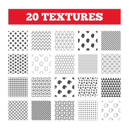 pigtail: Seamless patterns. Endless textures. Head icons. Male and female human symbols. Woman with pigtail signs. Geometric tiles, rhombus. Vector