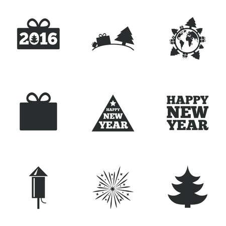salut: Christmas, new year icons. Gift box, fireworks signs. Santa bag, salut and rocket symbols. Flat icons on white. Vector Illustration