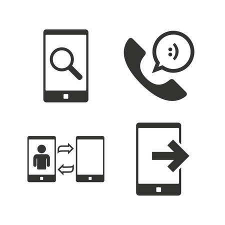 data synchronization: Phone icons. Smartphone with speech bubble sign. Call center support symbol. Synchronization symbol. Flat icons on white. Vector