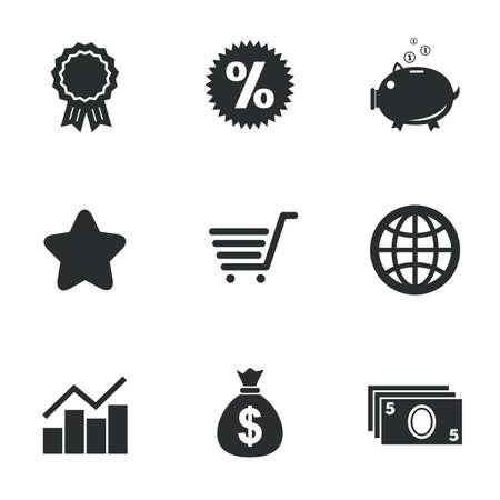 オンライン ショッピング、e コマース、ビジネス アイコン。貯金箱、賞、星印。現金お金、割引および統計記号。白地フラット アイコン。ベクトル  イラスト・ベクター素材