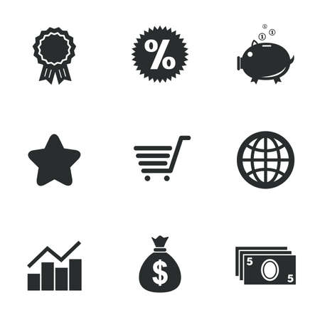 Online shopping, e-commerce and business icons. Piggy bank, award and star signs. Cash money, discount and statistics symbols. Flat icons on white. Vector