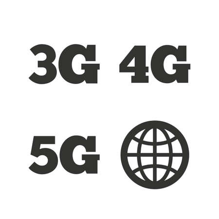 3g: Mobile telecommunications icons. 3G, 4G and 5G technology symbols. World globe sign. Flat icons on white. Vector Illustration