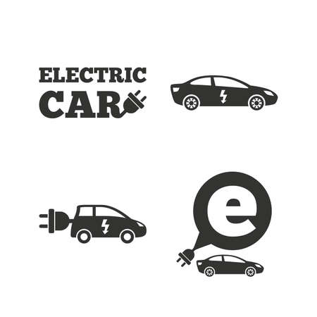 electric vehicles: Electric car icons. Sedan and Hatchback transport symbols. Eco fuel vehicles signs. Flat icons on white. Vector