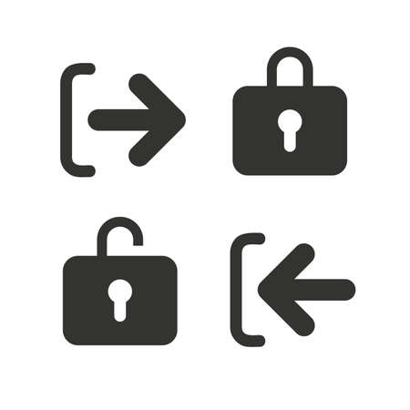 lock out: Login and Logout icons. Sign in or Sign out symbols. Lock icon. Flat icons on white. Vector