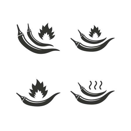 spicy food: Hot chili pepper icons. Spicy food fire sign symbols. Flat icons on white. Vector