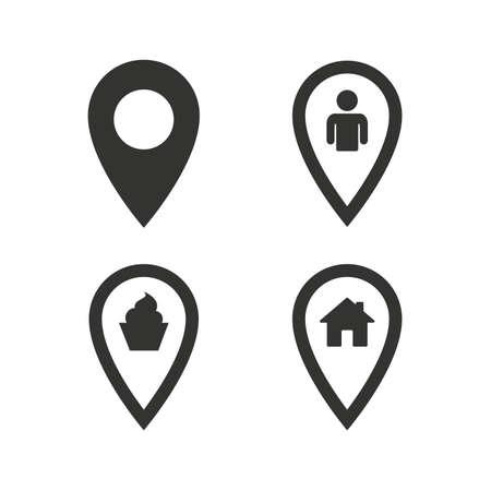 Karte Zeiger Symbole. Heim, Essen und Benutzer Ortzeichen. Restaurant und Kuchen Zeichen. Du bist da. Flache Symbole auf weiß. Vektor Standard-Bild - 46464424