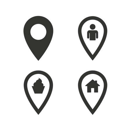 Map pointer icons. Home, food and user location symbols. Restaurant and cupcake signs. You are here. Flat icons on white. Vector