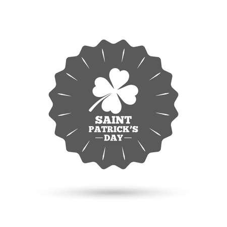 quatrefoil: Vintage emblem medal. Clover with four leaves sign icon. Saint Patrick quatrefoil luck symbol. Classic flat icon. Vector