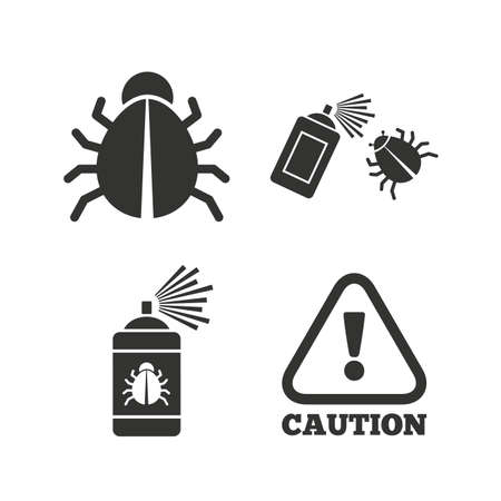 disinfection: Bug disinfection icons. Caution attention symbol. Insect fumigation spray sign. Flat icons on white. Vector