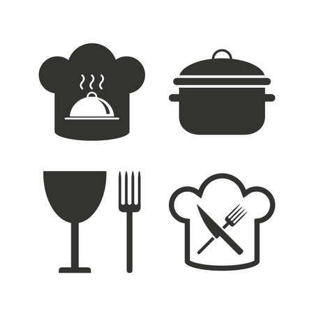 crosswise: Chief hat and cooking pan icons. Crosswise fork and knife signs. Boil or stew food symbols. Flat icons on white. Vector