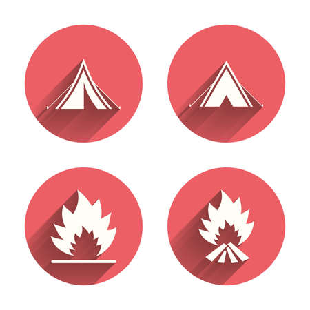 long weekend: Tourist camping tent icons. Fire flame sign symbols. Pink circles flat buttons with shadow. Vector Illustration