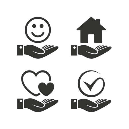 Smile and hand icon. Heart and Tick or Check symbol. Palm holds house building sign. Flat icons on white. Vector Ilustracja