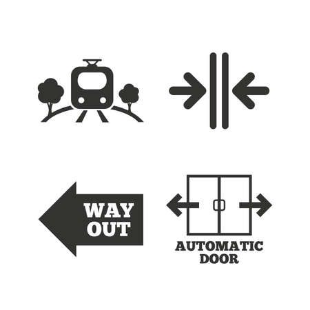 automatic doors: Train railway icon. Overground transport. Automatic door symbol. Way out arrow sign. Flat icons on white. Vector Illustration