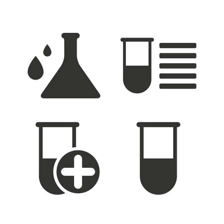 medical equipment: Chemistry bulb with drops icon. Medical test signs. Laboratory equipment symbols. Flat icons on white. Vector Illustration