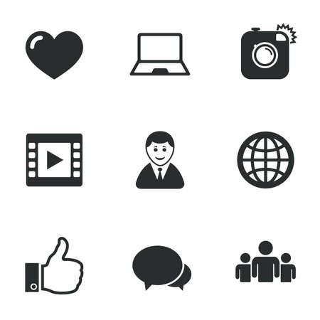 Social Media Icons Video Share And Chat Signs Human Photo