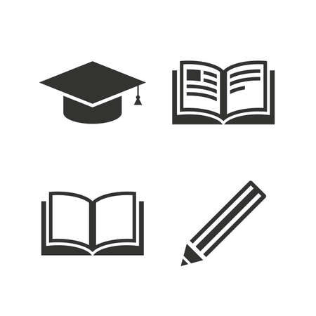higher education: Pencil and open book icons. Graduation cap symbol. Higher education learn signs. Flat icons on white. Vector