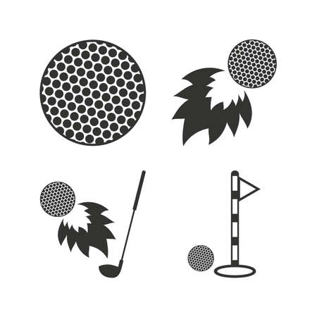golfball: Golf ball icons. Fireball with club sign. Luxury sport symbol. Flat icons on white. Vector