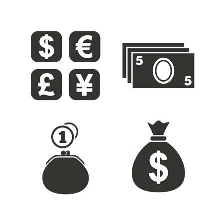 dollar icon: Currency exchange icon. Cash money bag and wallet with coins signs. Dollar, euro, pound, yen symbols. Flat icons on white. Vector