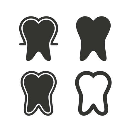 enamel: Tooth enamel protection icons. Dental toothpaste care signs. Healthy teeth sign. Flat icons on white. Vector Illustration