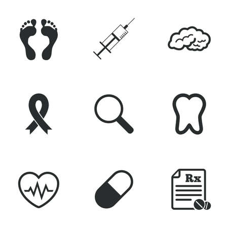 cancer foot: Medicine, medical health and diagnosis icons. Syringe injection, heartbeat and pills signs. Tooth, neurology symbols. Flat icons on white. Vector