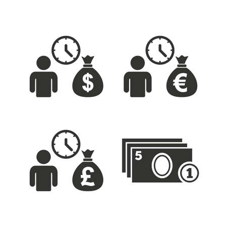 borrow: Bank loans icons. Cash money bag symbols. Borrow money sign. Get Dollar money fast. Flat icons on white. Vector Illustration