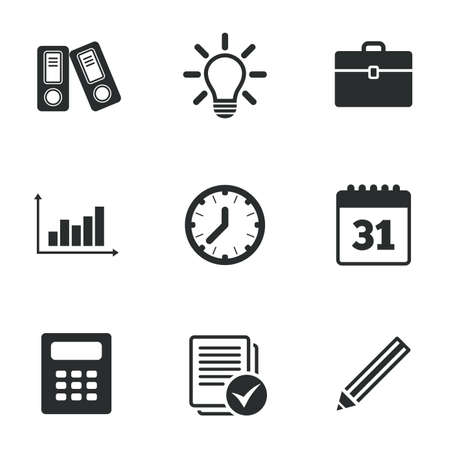 office documents: Office, documents and business icons. Accounting, calculator and case signs. Ideas, calendar and statistics symbols. Flat icons on white. Vector Illustration