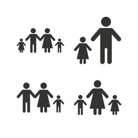 divorce: Familia con dos hijos icono. Padres y niños símbolos. Signos familia monoparental. Madre y el divorcio padre. Iconos planos en blanco. Vector