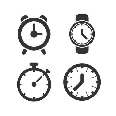 wake up call: Mechanical clock time icons. Stopwatch timer symbol. Wake up alarm sign. Flat icons on white. Vector
