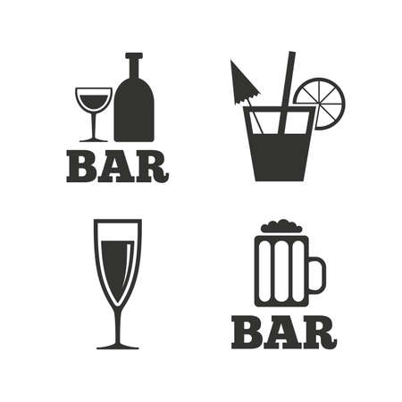 Bar or Pub icons. Glass of beer and champagne signs. Alcohol drinks and cocktail symbols. Flat icons on white. Vector
