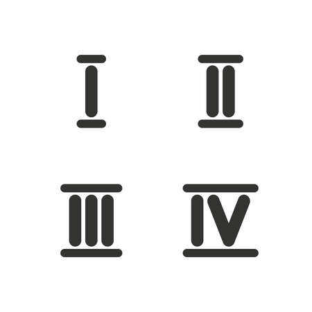 ancient rome: Roman numeral icons. 1, 2, 3 and 4 digit characters. Ancient Rome numeric system. Flat icons on white. Vector Illustration