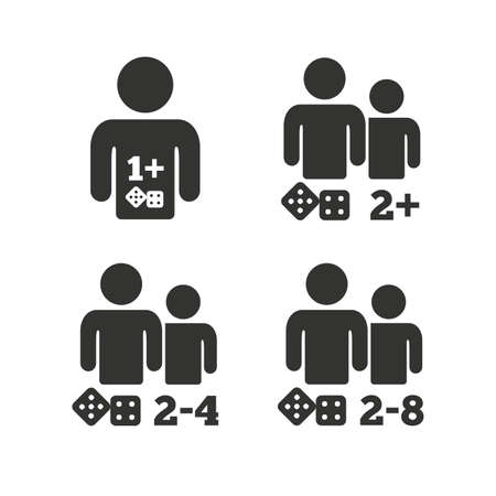gamer: Gamer icons. Board games players sign symbols. Flat icons on white. Vector Illustration