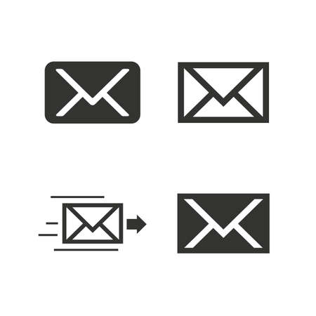 webmail: Mail envelope icons. Message delivery symbol. Post office letter signs. Flat icons on white. Vector