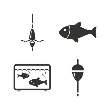 bobber: Fishing icons. Fish with fishermen hook sign. Float bobber symbol. Aquarium icon. Flat icons on white. Vector Illustration