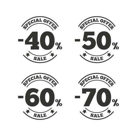 40 50: Sale discount icons. Special offer stamp price signs. 40, 50, 60 and 70 percent off reduction symbols. Flat icons on white. Vector