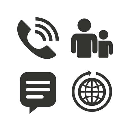 rang: Group of people and share icons. Speech bubble and round the world arrow symbols. Communication signs. Flat icons on white. Vector