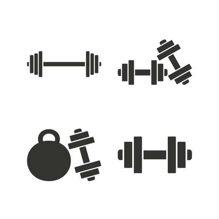 gym workout: Dumbbells sign icons. Fitness sport symbols. Gym workout equipment. Flat icons on white. Vector Illustration