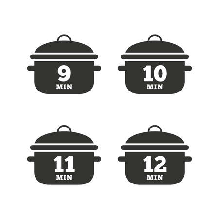 10 12: Cooking pan icons. Boil 9, 10, 11 and 12 minutes signs. Stew food symbol. Flat icons on white. Vector