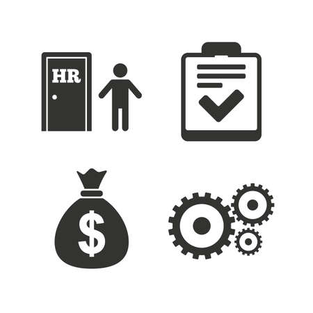 job icon: Human resources icons. Checklist document sign. Money bag and gear symbols. Man at the door. Flat icons on white. Vector