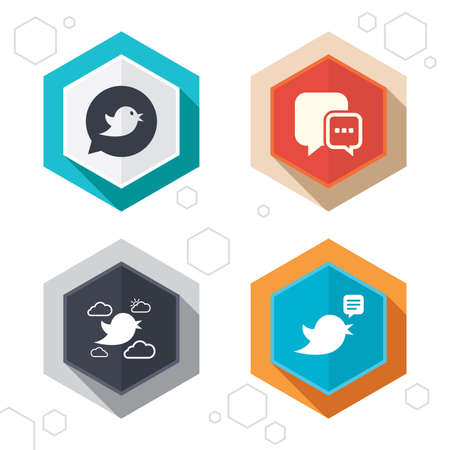 three points: Hexagon buttons. Birds icons. Social media speech bubble. Chat bubble with three dots symbol. Labels with shadow. Vector Illustration