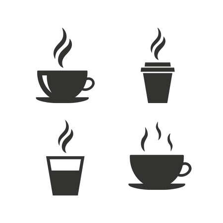 Icono de la taza de café. Bebidas calientes gafas símbolos. Para llevar o para llevar señales de bebidas de té. Iconos planos en blanco. Vector